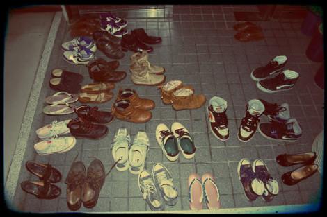 chaussures dans les entrées au Japon