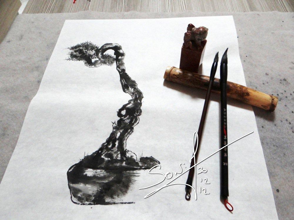 sumi-e représentation bonsai