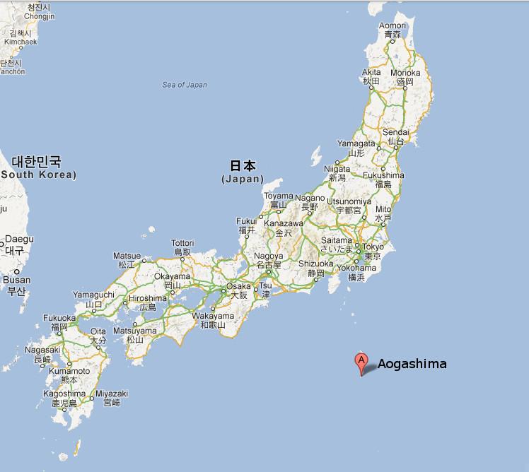 Aogashima sur carte du Japon